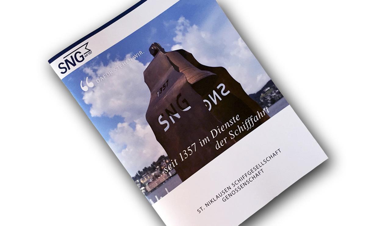 SNG Imagebroschüre mit Klappen für Einlage